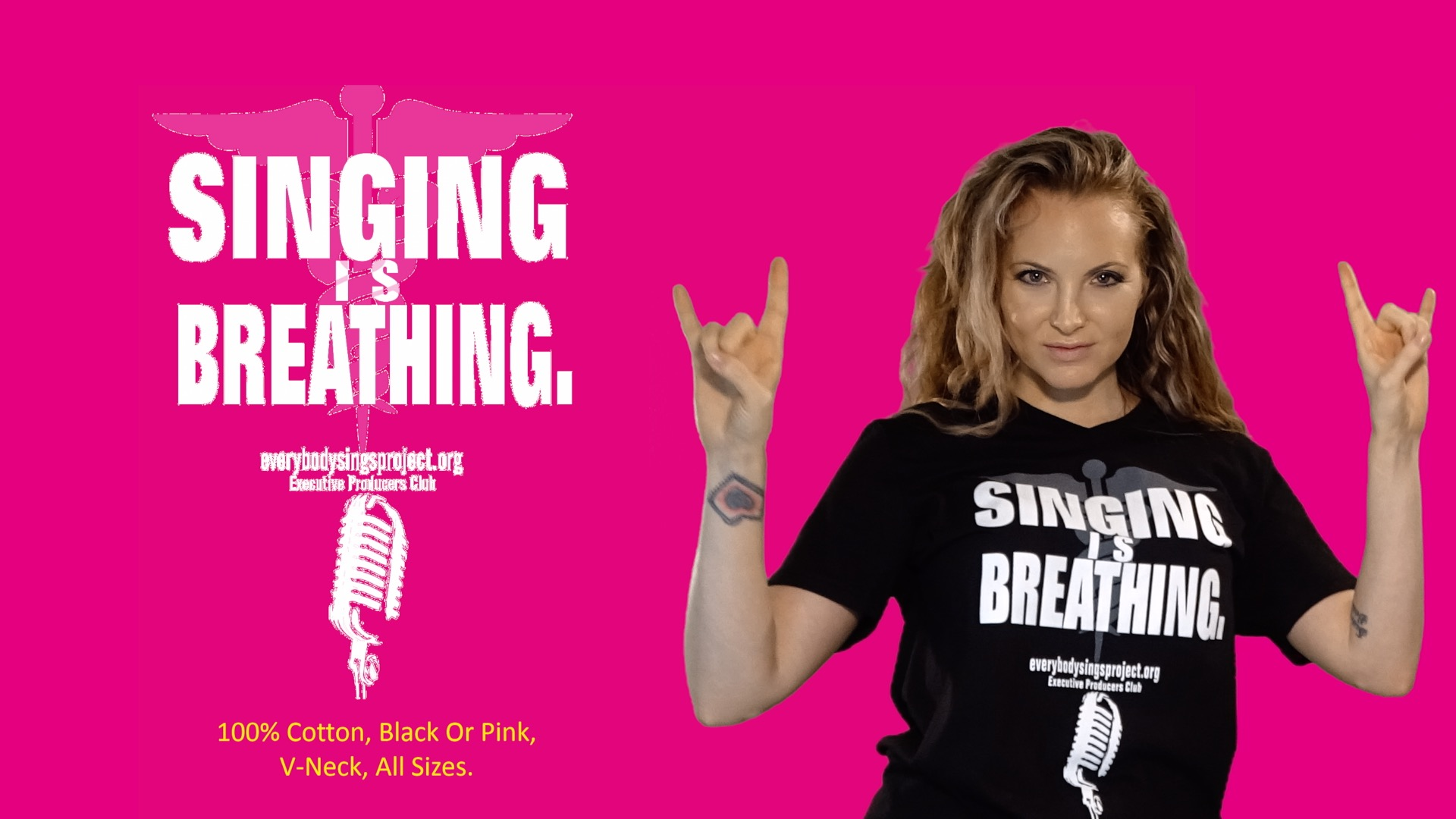Singing is Breathing T-Shirt Sale Pink